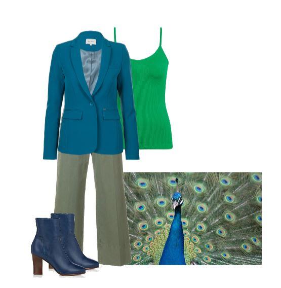 Blauw met groen gecombineerd